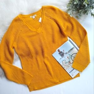 MORAL FIBER distressed ribbed knit mustard sweater